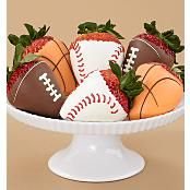 Sports Themed Dipped Strawberries. Would be cute for a baby boy shower