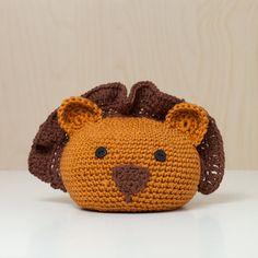 Türstopper gehäkelt Tierkopf Löwe braun karamell von MJUKstore