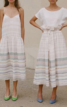 Paper Bag Striped Midi Skirt by MARA HOFFMAN for Preorder on Moda Operandi