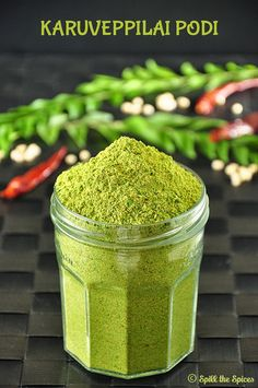 Karuveppilai podi is a spicy and flavorful powder made with curry leaves, lentils and spices Masala Powder Recipe, Masala Recipe, Indian Chutney Recipes, Indian Food Recipes, Veg Recipes, Cooking Recipes, Sauce Recipes, Cooking Tips, Recipes
