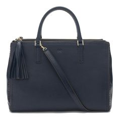 Navy High Shine Leather Pimlico Top Handle Anya Hindmarch Handbag. Want it!!