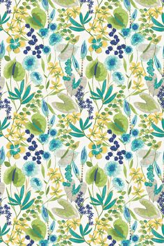 Nalina (120335) - Harlequin Fabrics - A stunning multi coloured, jungle leaf and flower designs with a pretty watercolour paint effect. Shown here in the blue and green colourway on a cream linen mix base. Please request sample for true colour and texture for this linen mix fabric.