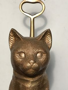 Mid Century Tall Heavy DETAILED Vintage BRASS SITTING CAT DOORSTOP with Handle | eBay