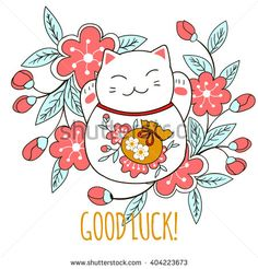 Cute greeting card with kitten maneki neko and Sakura flowers. A bag of money drawn on the belly of the cat symbolizes luck and wealth. Vector illustration. - stock vector