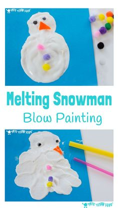 MELTING SNOWMAN BLOW PAINTING ACTIVITY lets kids enjoy the thrills of snowman building and melting even when there isn't any real snow! Snow Activities, Painting Activities, Winter Crafts For Kids, Christmas Activities For Preschoolers, Frozen Activities, Winter Theme, Winter Fun, Winter Storm, Winter Ideas