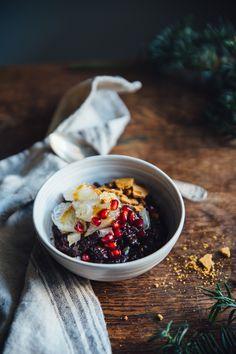 Black Rice Porridge with Pomelo, Ginger Snaps & Ginger Syrup   Cashew Kitchen