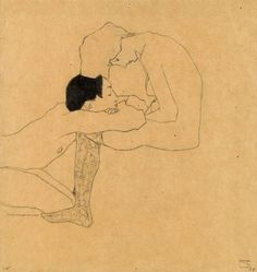 Egon Schiele (Austrian, 1890-1918), Liebende [Lovers], c.1909. Pencil and coloured crayon on paper