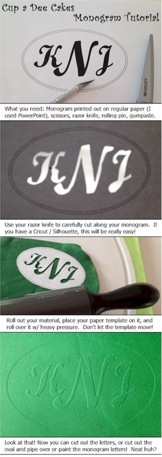 Simple Monogram Tutorial on paper - should work on fondant too.