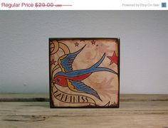 ON+SALE+Retro+Tattoo+Sparrow+Art+Block+by+MatchBlox+on+Etsy,+$25.00