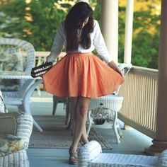coral skirt & white blouse