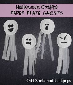Halloween Crafts Paper Plate Ghosts - thought we would make an easy start to our Halloween crafts... #halloweencrafts