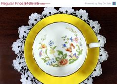 SALE Yellow Aynsley Tea Cup -  Teacup and Saucer - Butterfly Garden - Oban Shape 12103 by TheVintageTeacup on Etsy https://www.etsy.com/listing/225850709/sale-yellow-aynsley-tea-cup-teacup-and