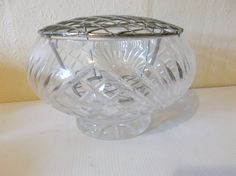 Vintage Crystal Glass Vase MCM Circa 1950s Wedding Vase Flower Frog by Retromagination on Etsy
