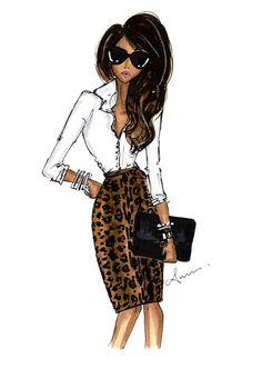 Fashion Illustration Print Leopard Skirt por anumt en Etsy