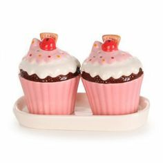 Whf Novelty Cupcake Salt And Pepper Pots by Whf. $11.61. Each Cupcake Measures Height 6Cm X Circ 16Cm X Diameter 6 Cm. With a Pink base, Blue and White Icing and Multi - coloured spots on top.. These Ceramic Cupcake Salt And Pepper Pots Are The Perfect Addition For Any Kitchen Or Dining Table. They Not Only Look Cute But Will Look Great On Display And Come With There Own Cream / White Ceramic Tray. The Lovely Cupcake Design Ensures Any Pink Lover Or Cupcake Lover Will B...