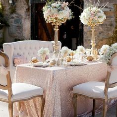 Gold Sequin Cloth with Gold Candelabras