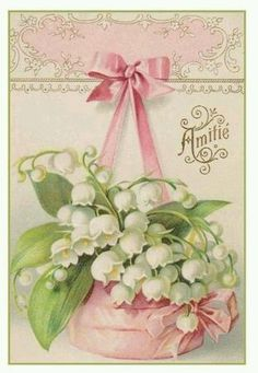 My favorite flower in the whole entire world. They smell amazing and are just so simple. They will be in my yard someday. These are lily of the valleys. Vintage Labels, Vintage Ephemera, Vintage Paper, Images Vintage, Vintage Pictures, Pink Lily, Vintage Greeting Cards, Lily Of The Valley, Vintage Postcards
