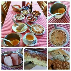 Fantastic lunch at Chez Dany's Maple Sugar Shack! Delicious pea soup (grandmother's recipe), maple baked ham, bacon omelette, cracklings, beets, maple baked pork and beans, crispy fried potatoes and tourtiere. Very traditional Quebecois family style meal.