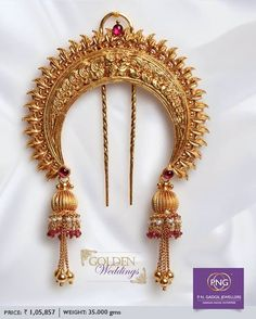 Indian Wedding Jewelry, Indian Jewelry, Bridal Jewelry, Gold Earrings Designs, Gold Jewellery Design, Saris, Maharashtrian Jewellery, Hair Brooch, Gold Hair Accessories