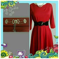 NWT Red Dress with Black Belt Size Medium Petite