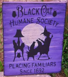 lack Cats Halloween witch decorations Humane Society Cat art signs Primitive Witches Sign Country Farmhouse Folk Art Painting Plaques Moon by SleepyHollowPrims $24.30