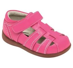 See Kai Run always create the brightest, funnest kids shoes, with great soft leather and flexible soles that allow your child's foot to move as naturally as possible.  Sail off into the sunset! These hot pink fisherman sandals are pinker than a sunset and so comfortable and durable she'll be sailing the seas sun up to sun down. Also available in black and blue.