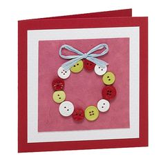 This article has 11 button wreath craft holiday decoration tutorials with descriptions for each. I have included other button craft resources as well as lots of pictures, too. Homemade Christmas Cards, Homemade Cards, Handmade Christmas, Christmas Crafts, Christmas Holiday, Wreath Crafts, Holiday Crafts, Holiday Decorations, Christmas Greeting Cards