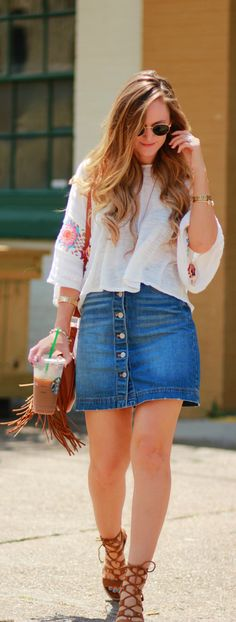Easy summer weekend outfit with crochet top, denim button up skirt, and lace up sandals