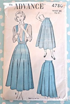 1948 Advance #4780 Pleated or Gored Skirt Pattern, optional Suspenders.by Fragolina,etsy