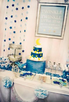 I want to do this for her first birthday! twinkle-twinkle-little-star-theme-dessert-table ( crystal, this is all you! so adorable! I would use it for a birthday party theme! Baby Party, Baby Shower Parties, Baby Shower Themes, Baby Boy Shower, Shower Ideas, Twinkle Star Party, Twinkle Twinkle Little Star, Star Baby Showers, Baby First Birthday
