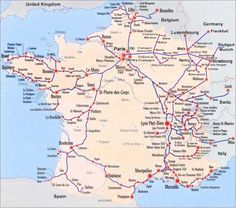 France Train Map of entire TGV high speed train system with all the TGV stations. Fly or take Eurostar to Paris and the TGV to Avignon.
