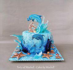 Dolphin cake - cake by Mischell Dolphin Birthday Cakes, Dolphin Cakes, Fish Cake Birthday, Marine Cake, Surf Cake, Cake Designs For Girl, Ocean Cakes, Luxury Cake, Fantasy Cake