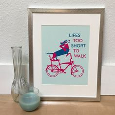 Dachshund Bicycle print Dachshund Bicycle art Doxie by ShortyLife