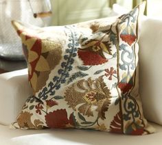 Love these pillows for the living room ... Mila Suzani Embroidered Pillow Cover | Pottery Barn