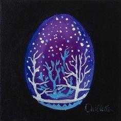 """""""Ukrainian Christmas Egg 1"""", folkart, contemporary oil painting, Dennis Kotelko Art"""