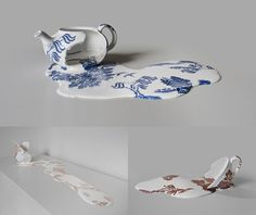 For her sculpture series Nomad Patterns, artist Livia Marin's ceramic cups and kettles melt into puddles of porcelain while surprisingly retaining their original printed designs. The elaborate faux. Sculptures Céramiques, Sculpture Art, Ceramic Sculptures, Ceramic Cups, Ceramic Pottery, Ceramic Teapots, Pottery Art, Contemporary Ceramics, Contemporary Art