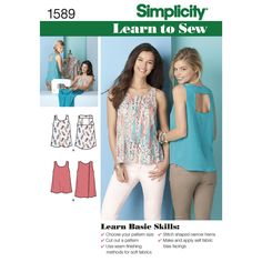 misses' tank top with back interest. sleeveless tops with scoop neckline and a-  line fit. view a with open square at the shoulders or view b with cross over back. learn to sew pattern   collection.<p>