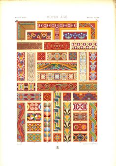 Middle Ages ~ from (Auguste) 'Racinet's 'L'Ornement Polychrome' #pattern #art