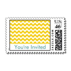 Turquoise and Yellow Chevron Wedding Postage (but with grey instead of turquoise)
