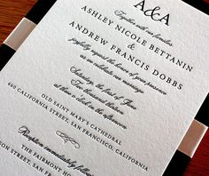 This traditional wedding invitation was designed with a formal wedding ceremony and reception in mind.