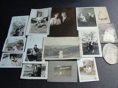 For your consideration is a Lovely Vintage group of (15) old black-white photographs from early 1900's to middle 1930's.  There are 15 different styles