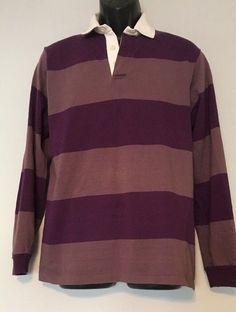 GANT The Rugger Polo Rugby Shirt Size Large VINTAGE 90s Purple Stripe  Longsleeve  GANT   9c23f6fac