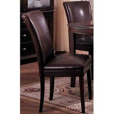 Chocolate Bicast Leather Parson Chairs (Set of 2) | Overstock.com Shopping - The Best Deals on Dining Chairs