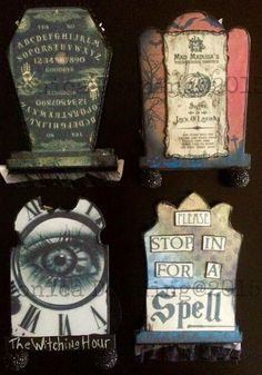 Back sides of ATC Tombstones for swap at retrocafeartgallery.com