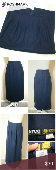 """NYCC 100% Wool Navy High-Waist Midi Skirt Size 10 Premium Quality Wool Skirt from New York Clothing Co. Size 10. Midi to ankle length. Navy color. Partially pleated. With back zipper and fully lined. This skirt is made with 100% pure wool and is in pristine, flawless condition. Perfect for work or formal event.   ℹ High Waist 28""""-30"""", Length 31"""" Measured flat  ℹ Made in USA New York Clothing Co. Skirts A-Line or Full"""