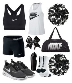 """B&W Cheer"" by gakelly06 ❤ liked on Polyvore featuring NIKE and Chassè"