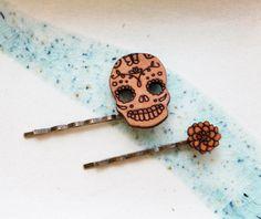 Skull Hair Pin Set - Dia De Los Muertos Candy Skull and Chrysanthemum Hair Accessories. $14.99, via Etsy.