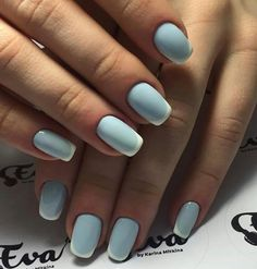 French manicure with a twist. Baby blue base.