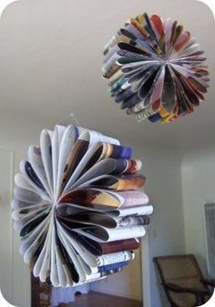 Made from old catalogs.  Party decorations or just fun for the room?