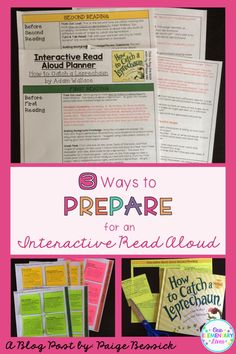 3 Ways to Prepare for an Interactive Read Aloud.  3 awesome ways to get ready for an Interactive Read Aloud and it's activities are shared.  Makes them easy to do with your primary students.